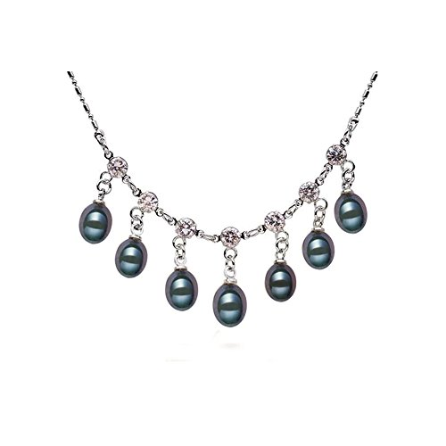 - Blue Pearls - Black Freshwater Pearl and Cz Stones Necklace and 925 Silver - BPS 1006 O Noir- Blue Pearls - BPS 1006 O Noir