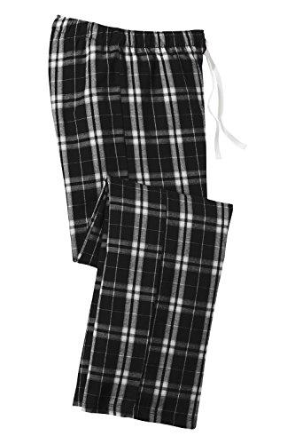 District Ladies Juniors Flannel Plaid Pant, Black L ()