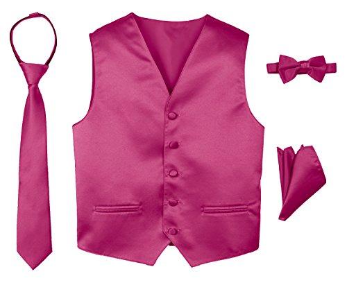 Spring Notion Boys' 4-Piece Satin Tuxedo Vest Set 10 Fuchsia