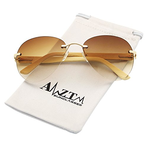 AMZTM Classic Modern Eyewear Frames Bamboo Wooden Fashion Rimless Driving Glasses Aviator Sunglasses For Women and Men 100% UV400 Protection (dark brown, - Best Wooden Sunglasses