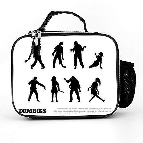 Welkoom Lunch Bag Insulated Lunch Box - Tough & Spacious Adult Lunchbox To Seize Your Day (Set Of Black Silhouettes Of Zombies - Lunch Bags For Men, Adults, Women) ()