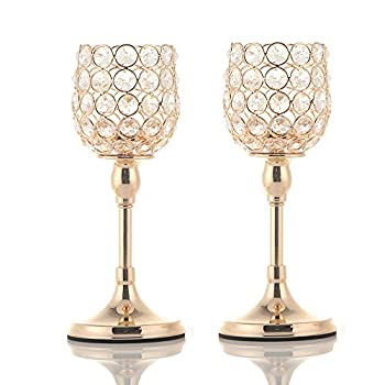 VINCIGANT Gold Crystal Pillar Candle Holder Set of 2 Table Centerpieces for Anniversary Celebration House Decor,Thanksgiving Gifts,10 Inches Tall