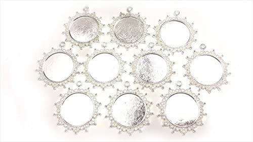 【HARU雑貨】シルバー ミール皿 10枚セット/丸皿 華 レース 銀 s22/セッティング レジン アクセサリーパーツ