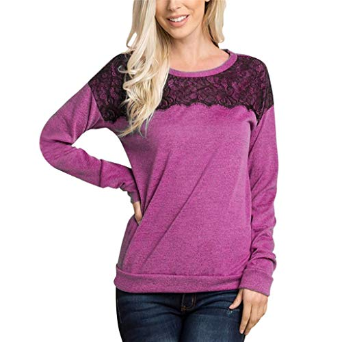 Women's Long Sleeve O Neck Lace Cover Shoulder Loose Fit Casual Tunic Tops Hot Pink ()