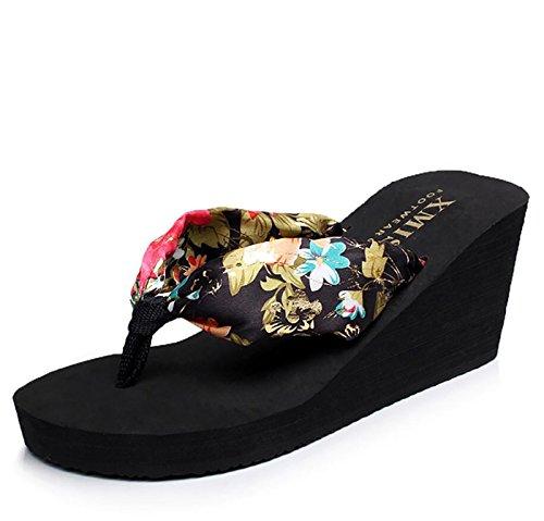 DANDANJIE Chancletas de Mujer Zapatillas de Playa de Estilo Bohemio Antideslizantes Zapatillas Cool Zapatillas de Moda Cómodas Zapatillas y Chanclas Zapatos caseros Negro