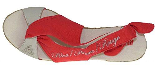 Le Coq Sportif Pecheurs Wedge - Sandalias de vestir de Piel Lisa para mujer Rojo baked apple Rojo - baked apple