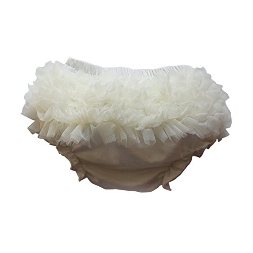 Wennikids Baby Girls Newborn Chiffon Bloomers,Diaper Cover,Ruffles Bloomers Large White