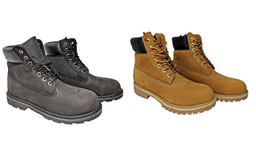 NYC Tough Boot Company Premium Water Resistant Men's Leather Work Boots With Natural Blend Rubber Outsole
