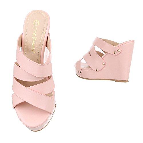 Ital-Design Pantoletten Damen Schuhe Jazz & Modern Keilabsatz/Wedge Keilabsatz Sandalen/Sandaletten Rosa