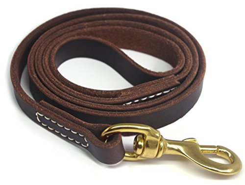 YOGADOG Genuine Leather Dog Training Leash. 4/6 ft Length 3/5 inch Width for Medium and Large Dogs.(4 feet) ()
