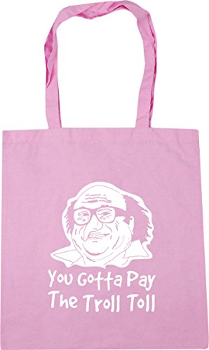 HippoWarehouse Frank You Gotta Pay The Troll Toll Tote Shopping Gym Beach Bag 42cm x38cm, 10 litres Classic Pink