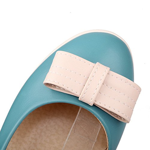 Wedge Pumps B US Mid Round Closed Heel Bowknot Solid whith Toe 8 WeenFashion Mary 5 PU Women's Platform Jane M Blue YAwqxRRU