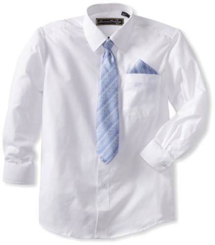 - American Exchange Big Boys' Dress Shirt with Tie and Pocket Square, White, 12