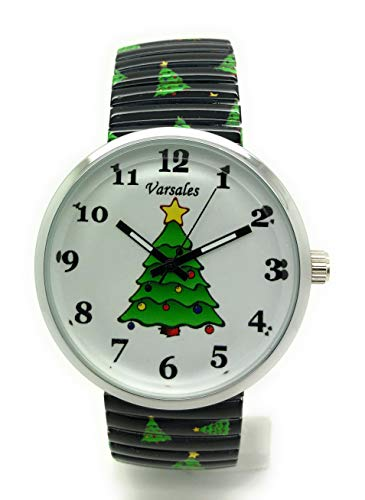 Ladies Novelty Christmas Theme Holidays Elegant Stretch Elastic Band Fashion Watch Versales (Christmas Tree 1)