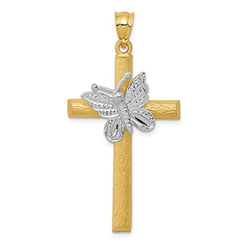 14k Two Tone Yellow Gold Cross Religious Butterfly Pendant Charm Necklace Fancy Fine Jewelry Gifts For Women For Her ()
