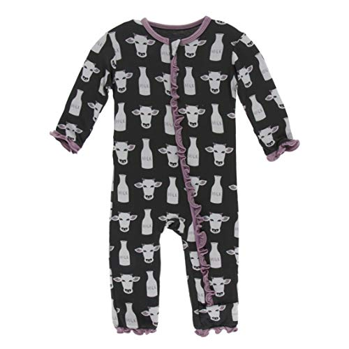 Kickee Pants Little Girls Print Layette Classic Ruffle Coverall with Zipper - Zebra Tuscan Cow, 3-6 Months ()