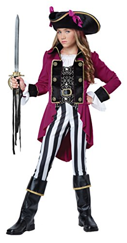 Child Pirate Black Costume Captain (California Costumes Fashion Pirate Costume, Black/White/Berry,)