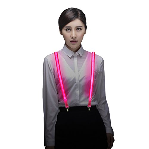Light Up LED Suspenders Adjustable One-size for Party Concert Men&Women - Pink