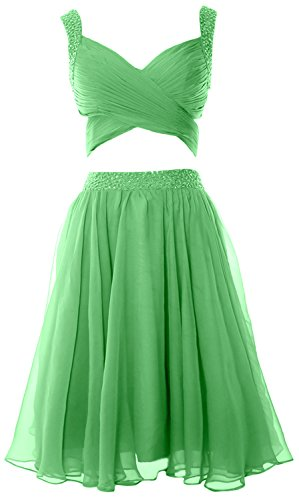 Women Mini Piece 2 Evening Chiffon Dress MACloth Formal Prom Homecoming Minze Dress qRBYqdU