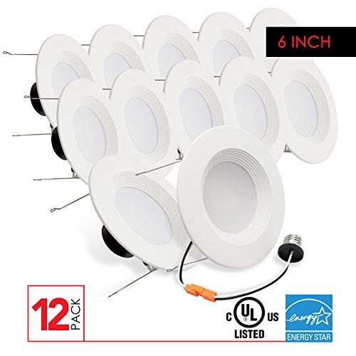LED 6 Inch Retrofit Downlight, 12W, 850 Lumens, 4000K, CRI90, UL Listed Energy Star Certified, 12 Pack