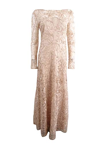 JS Collections Womens Lace Full-Length Evening Dress Beige 10 ()