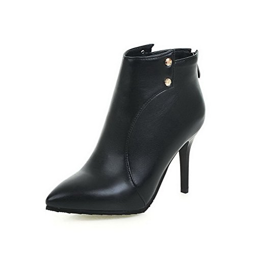 Stilettos Closed Pointed Toe Boots Top WeenFashion Solid Low Spikes Black Pu Women's OwE55q0