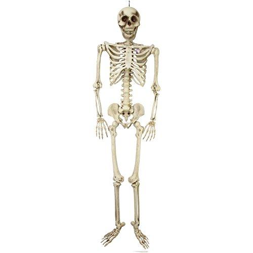 7' Bone (Halloween Haunters Giant 7 Foot Hanging Full Body Skeleton Plastic Prop Decoration - Posable Joints, Realistic Human Bones, Scary Skull)