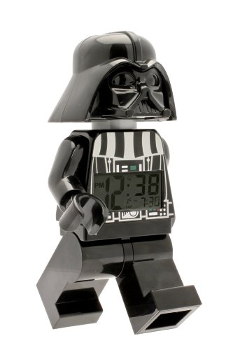 (Clic Time Lego Star Wars 9002113 Darth Vader Kids Minifigure Light Up Alarm Clock | Black/Gray | Plastic | 9.5 inches Tall | LCD Display | boy Girl | Official)