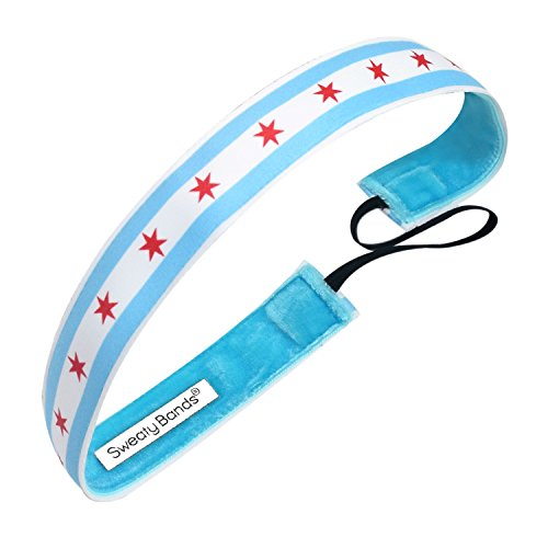 Sweaty Bands Womens Girls Headband - Non-Slip Velvet-Lined Sports Hairband - Run Chicago Flag Red Blue