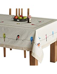 Maison d' Hermine Birdies On Wire 100% Cotton Tablecloth 60 - inch by 108 - inch.