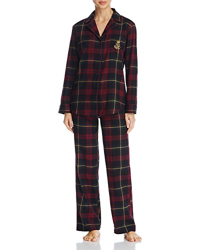 - Lauren by Ralph Lauren Womens Brushed Twill Notch Collar Pajama (Maron Plaid, Large)