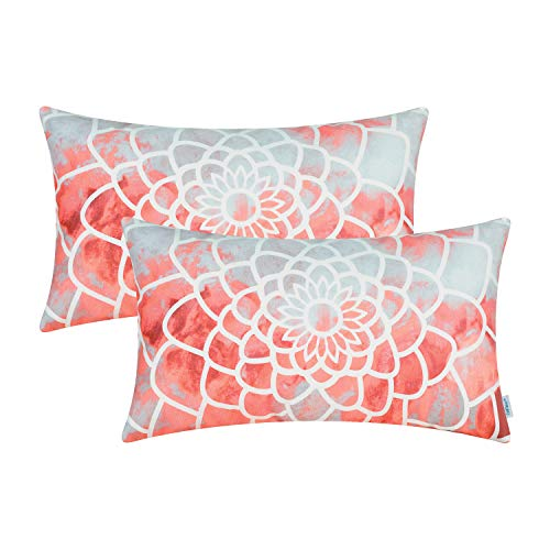 CaliTime Pack of 2 Cozy Fleece Bolster Pillow Cases Covers for Couch Bed Sofa Manual Hand Painted Print Colorful Dahlia Compass 12 X 20 Inches Coral Pink