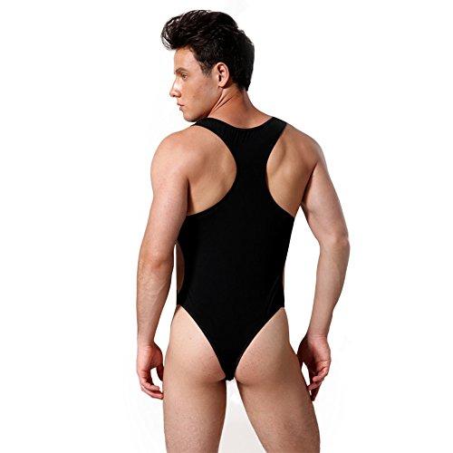 616eef78728 YiZYiF Men s Leotard Sport Undercloth Thong Bodysuit Buckled Open Jumpsuit  Pants Black
