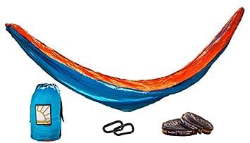 TheSunnysideShoppe SunnySack Lightweight Heavy Duty Parachute Nylon Double Hammock with Tree Straps – Sunrise Blue Orange
