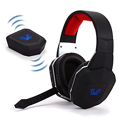 Huhd Wireless 2.4ghz Optical Fibre Transmitter Gaming Headset Noise Cancelling with Mic for Xbox One Video Game Player