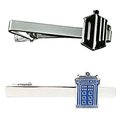 Outlander Doctor Who DW & TARDIS - TV Series - Tiebar Tie Clasp Set of 2 Wedding Superhero Logo w/Gift Box by Outlander