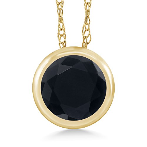 Gem Stone King 0.46 Ct Round Black Onyx 14K Yellow Gold Pendant With Chain