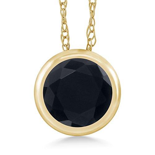Gem Stone King 0.46 Ct Round Black Onyx 14K Yellow Gold Pendant With Chain - Gold Onyx Jewelry Box