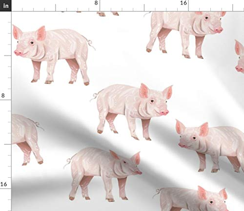 (Spoonflower Pig Fabric - Pig Farm Animal Hog Pork Pink White Cute Pigs Pig Piggies Piggy Pink Farm Baby by Taraput Printed on Minky Fabric by The Yard)