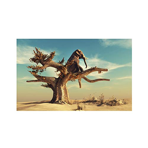 lightclub Elephant Sitting On Tree Canvas Painting Poster Wall Picture Living Room Decor 5070cm ()