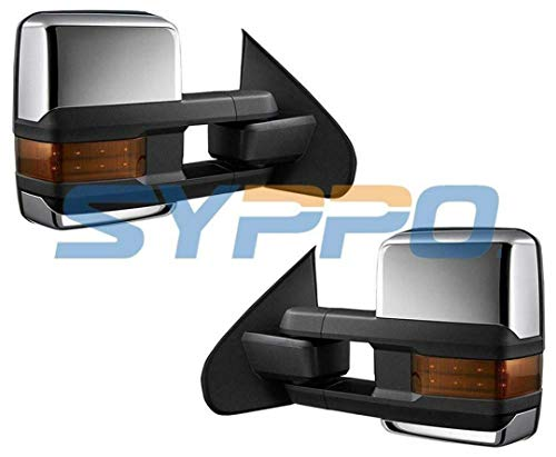 Pair Set of Towing Mirrors for 2015-2018 Chevrolet Silverado 2500HD/3500HD - Power Adjustment + Heated + Amber Lens + Dual Arm Towing Style + Dual Glass + Clearance Lamps + Backup Lamps (Chrome)