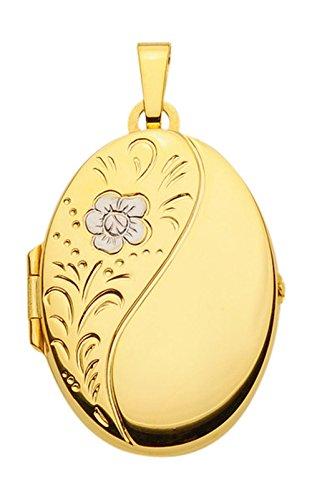 Pendentif médaillon en forme de cœur, pendentif en or jaune 585 14 carats