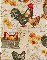 (Roosters, Chickens and Farm Fresh Eggs Vinyl Flannel Back Tablecloth (52