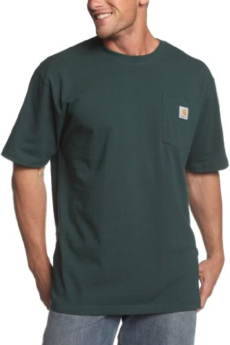 Carhartt Big And Tall Work Shirt - Carhartt  Men's Workwear Pocket S/S Tee - Tall Hunter Green T-Shirt