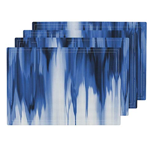 Roostery Cobalt 4pc Eco Canvas Cloth Placemat Set - Cobalt Shibori Dye Blue White Abstract Modern Cobalt Shibori Ikat Dye Waterfall Indigo Bohemian by Arrpdesign (Set of 4) 13 x 19in
