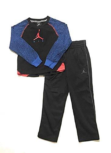 Jordan Jumpman Little Boys Raglan Tee Shirt and Pants Set Black/Blue Size 6 (Kids Jordan For Sweatsuits)