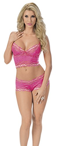 Escante Women's Hearts Forever Cami and Boyshort Set, Racy Pink, Large ()