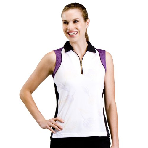 Monterey Club Ladies Dry Swing Floral Print Colorblock Contrast Sleeveless Shirt #2513 (White/Grape Soda, Small)