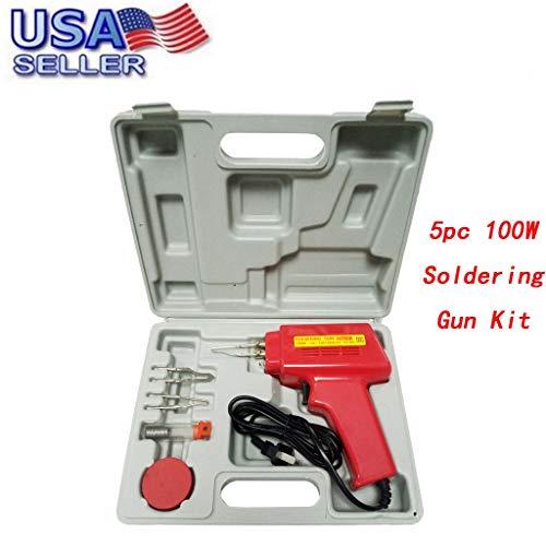 100W Standard Soldering Gun Kit, Manual Soldering Gun Iron Solder Professional Style Sodering with Storage Case (Red, 5 pc Professional Soldering Gun Kit)
