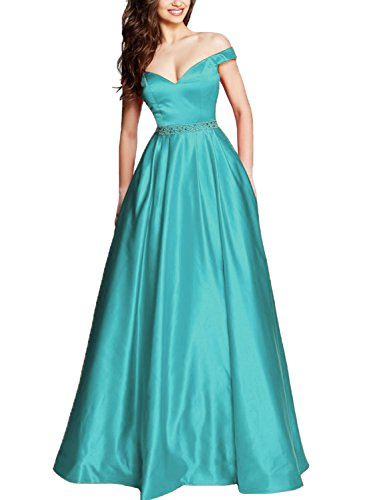 Yilis Women's Off The Shoulder Wedding Party Dress Beaded Prom Dress With Pockets Turquoise US6 from Yilis